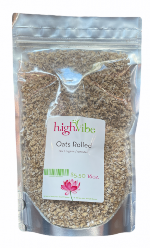 HighVibe- Oats Rolled Raw / Sprouted / Dehydrated / Cracked - Bulk 16 oz