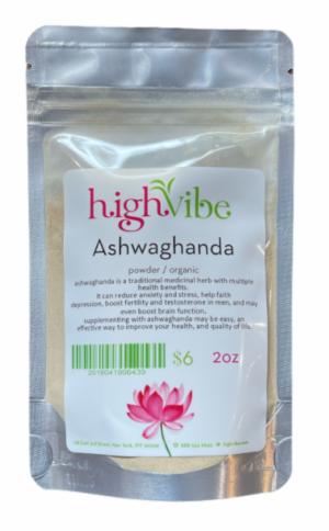 HighVibe- Ashwaghanda Powder / Organic - Bulk 2oz