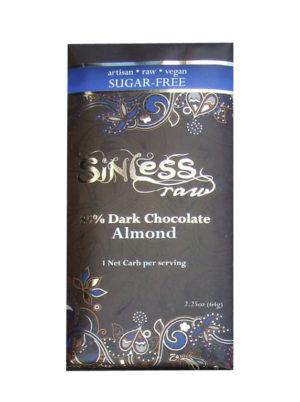 Sinless Sugar Free Raw Chocolate Bar - Almond