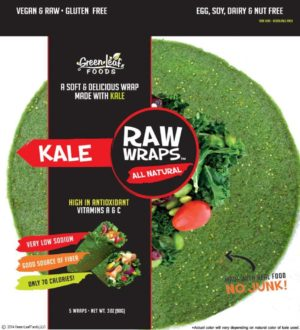 Green Leaf Foods Raw Wraps Kale 5pcs