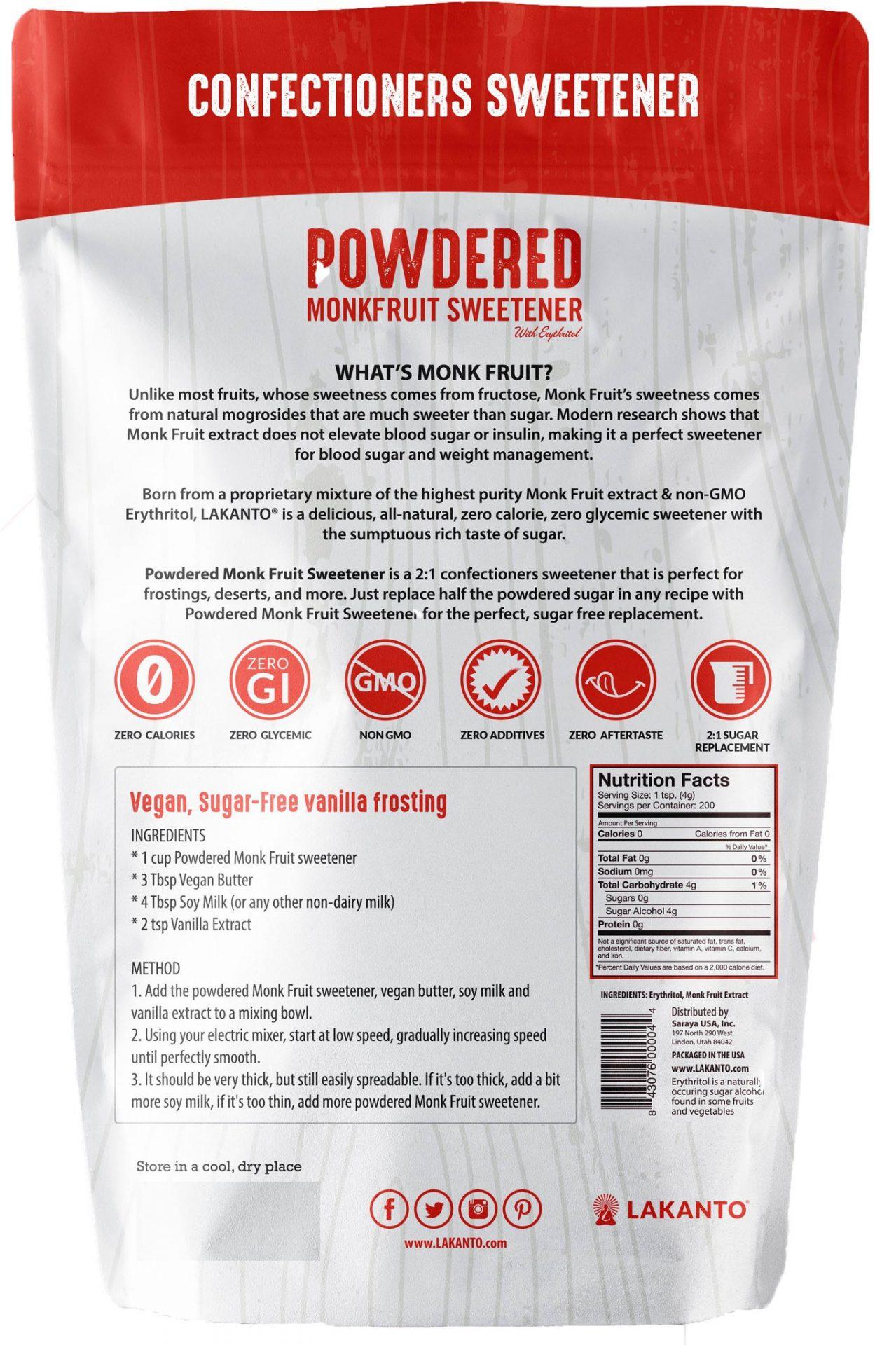 Lakanto Powdered Monkfruit Sweetener