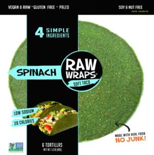 Raw Wraps Spinach Soft Taco - 6 pieces