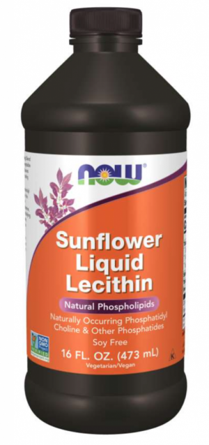 Now Sunflower Liquid Lecithin Natural Phospholipids 16oz